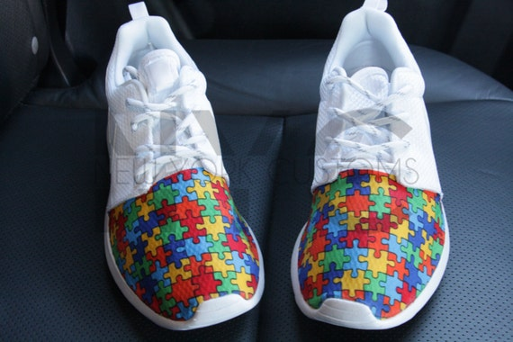e353f0a70b766 outlet Autism Speaks Nike Roshe Run White Autism Awareness Puzzle ...