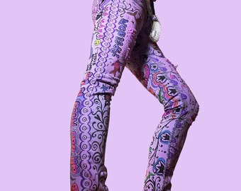 purple haze recycled hand painted denim skinny jeans. exclusive unique wearable art. by artfink