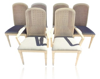 VVH Set Of 6 Vintage Faux Bamboo Dining Chairs Cane Back 2 Armchairs 4