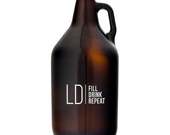 Personalized Beer Growler - Monogram Beer Growler - Unique Gift - Beer Lover - Glass Beer Growler - Christmas Present - Craft Beer Growler