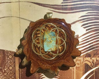 Turquoise in the Matrix with Seed of Life(Small), Third Eye Pinecones Pendant