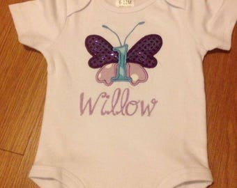 Butterfly birthday shirt/ bodysuit- applique birthday