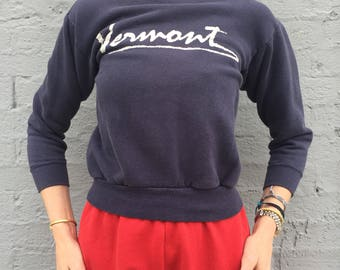 vintage 80s vermont navy 3/4 sleeve sweatshirt pullover size xxsmall womens