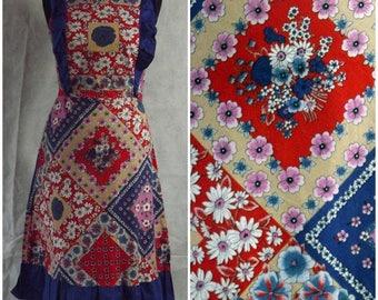 Vintage 1970s Boho Hippy Patchwork Dress Festival Party Summer Cotton Dress 8/10
