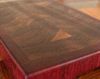 End Grain Cutting Board, chopping block, in Purpleheart and Walnut