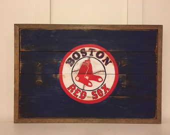 Rustic, distressed, Boston Red Sox baseball, hand painted, reclaimed wood, sign