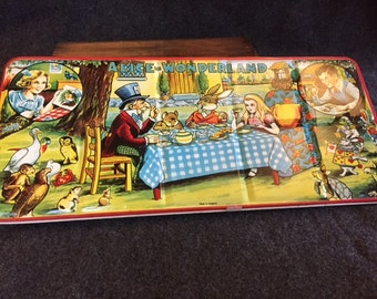 Vintage tin lithograph Alice and Wonderland paint set