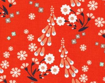 Foxgloves Orange 16 inch REMNANT - Foxglove by Aneela Hoey for Cloud9 Fabrics, modern fabric, organic fabric, modern floral, cloud 9
