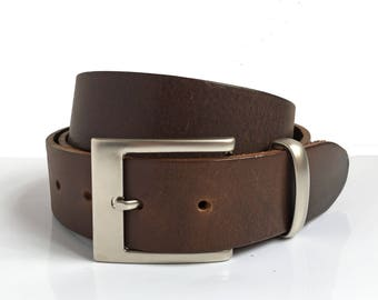 "Brown Leather Belt - 1"" 1/2 - Matt Silver Rectangle Buckle - Brown Belt - Leather Belt - Mens Belt - Boyfriend Gift - Genuine Leather Belts"