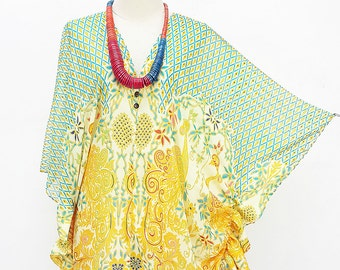 Kaftan Kimono Beach Cover up Bikini Turquoise Butterfly sleeves Tunic Gift Top Maternity Swimwear Plus size see through colorful Summer