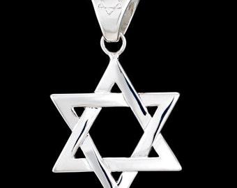 Star of David, Shield of David, Magen David, Hexagram, Solid 925 Sterling Silver Pendant