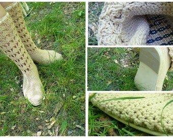 NEW Boots knitted handmade Crochet Boots Knit boots for street adult outdoor  Boots crochet Crochet Knitted Shoes Outdoor Boots folk hippie
