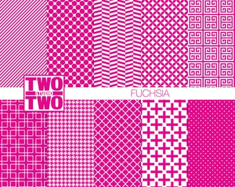 "Hot Pink Digital Paper: ""FUCHSIA"" Polka Dots, Stripes, and Houndstooth Patterns, Hot Pink Backgrounds, Pink Scrapbook Pack, Instant Download"