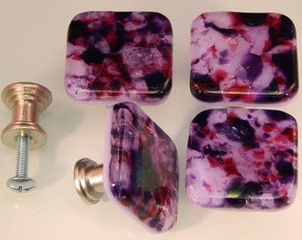 Decorative Fused Glass Cabinet Door Knobs - Drawer Pulls - Kitchen Hardware - Lavender , Purple, Fuchsia, Iridescent - KB17205C