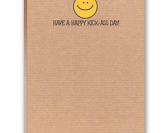 Have a Happy Kick Ass Day - Funny Note Pad - 2 Cute Note Pads - 35019