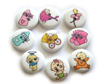 10 Assorted Baby Buttons