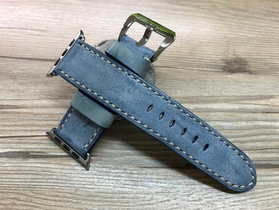 Handmade blue apple watch band, Apple Watch Strap, Leather Watch Band for Apple Watch 38mm, 42mm, iwatch, series 1, series 2