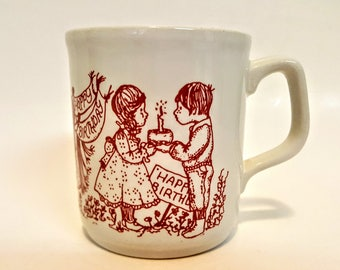 Child's Happy Birthday Mug Cartwright's Of England Staffordshire Tableware Cartwright & Edwards Dark Red On White Porcelain 1980s