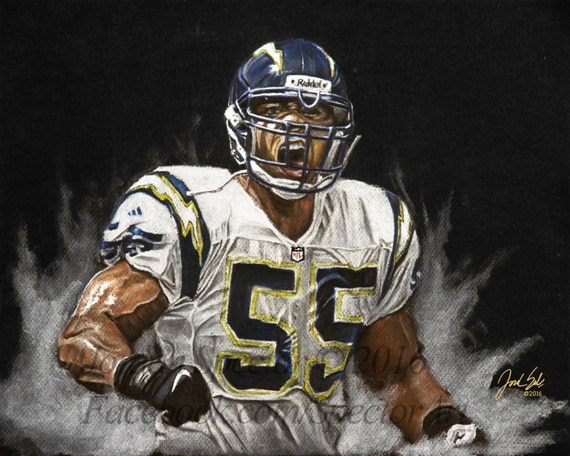 Los Angeles Chargers Junior Seau Art Print Chargers