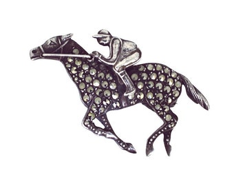 Silver Marcasite Racehorse Brooch