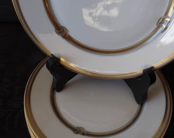 CHRISTOFLE Paris France - Discontinued RUBAN OR (Gold Ribbon) - Set 6 - Bread and Butter Plates / Side Plates