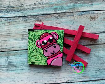 Sock Monkey Mini Canvas, Sock Monkey, Sock Monkey decor, Mini canvas, Mini canvas decor, Mini canvas art, Sock Monkey Art