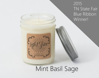 Mint Basil Sage | Mint + Basil + Sage | 8 ounce Soy Candle, Jar Candle