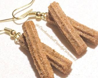 Disneyland Cinnamon Sugar Churro Treat Polymer Dangle Hook Earrings or Necklace