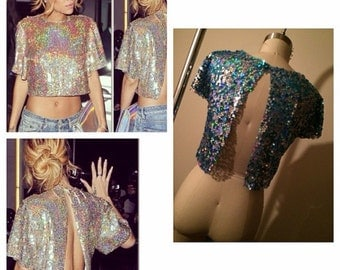 Sequin crop top with open back