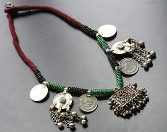 Vintage Green Afghani Necklace, Vintage beaded necklace, Tribal Necklace, Gypsy, Oxidized Necklace, Afghan Kuchi Necklace