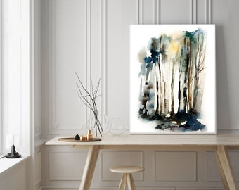 Abstract Forest Print, Art Print, watercolor painting print, wall art, forest art, modern wall home decor