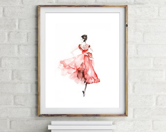 Ballerina Print, art print, watercolor print, ballet wall art, modern home decor, ballerina painting, ballet art