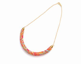 Small Summer Necklace, Rope Necklace, Textile Necklace, Cord Necklace, Colorful Fiber Necklace, Simple Necklace, Textile Jewelry