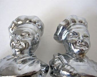 RARE Guardian Service Cookware Chef Salt and Pepper Shakers glass silver aluminum ware Hostess Gift 1940s baker Century Metalcraft set pair