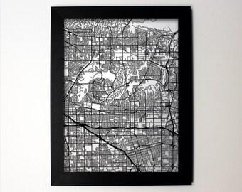 Fullerton Map / Laser Cut Map / Fullerton CA / Fullerton Art / Fullerton California / Framed Map / Wedding Gift / Anniversary Gift / Office