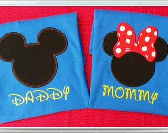 Mickey Mouse birthday applique t shirt. Disney Mommy Daddy birthday shirt  royal blue SHORT SLEEVE