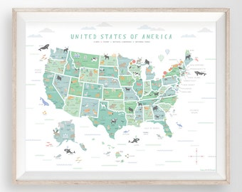 USA map, US map wall art, Map nursery art, My first map, Map of America, United States map, Educational poster, Classroom poster, Animal art