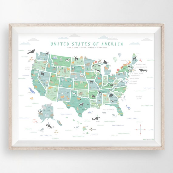 Usa Map Us Map Wall Art Map Nursery Art My First Map Map Of America United States Map Educational Poster Classroom Poster Animal Art