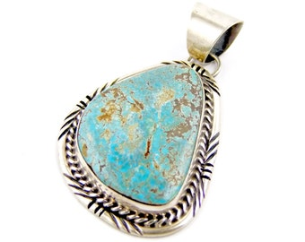 Beautiful Sterling Silver Bill Hex Dineh Turquoise Navajo Pendant