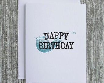 Happy Birthday - Pipe - Letterpress Blank Greeting Card on 100% Cotton Paper