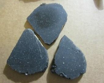 3 Obsidian slabs, lot