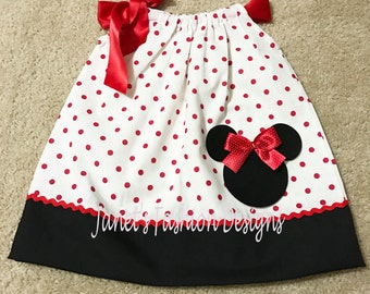 Minnie Mouse Pillowcase Dress - Minnie Mouse Polka dots Pillowcase Dress - Fashion Pillowcase Dress white polka dots