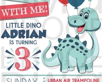 Little Dino Birthday Download Invitation 5x7 Digital Download