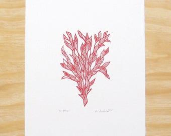 "Woodcut Print - ""Friend"" - Bright Red Plant - Printmaking"