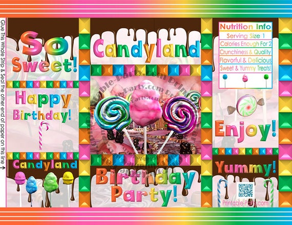 printable chip bags candy party theme candyland birthday printable instant download favors. Black Bedroom Furniture Sets. Home Design Ideas