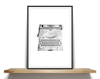 White Mercedes Typewriter Photography, White Mercedes Typewriter Art Print, Mercedes Selekta Typewriter Photography Wall Art