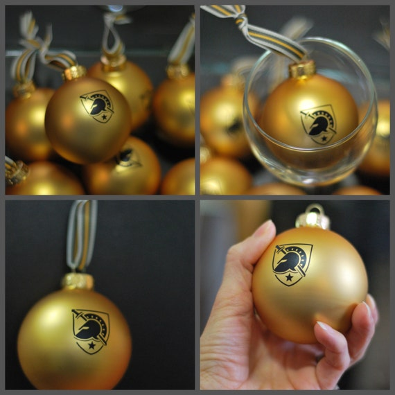 Limited USMA Army West Point Glass Gold Ornaments US Army