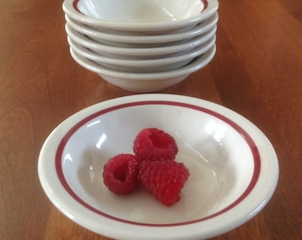 Six (6) McNicol White with Red Stripe Small Fruit / Dessert / Side Dish / Prep Bowls Restaurant Ware