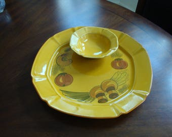L A California Pottery One Piece  Chip and Dip!