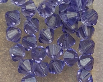 Swarovski 4mm Bicone Faceted Crystal Beads - TANZANITE - Select 10, 20, 50 or 100 Beads